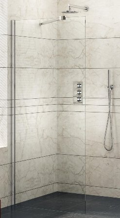 KIRBY SEBASTIAN BARCELONA POLISHED ALUMINIUM 1 PANEL WETROOM/WALK-IN SCREEN 1000mm, BAR1000WR